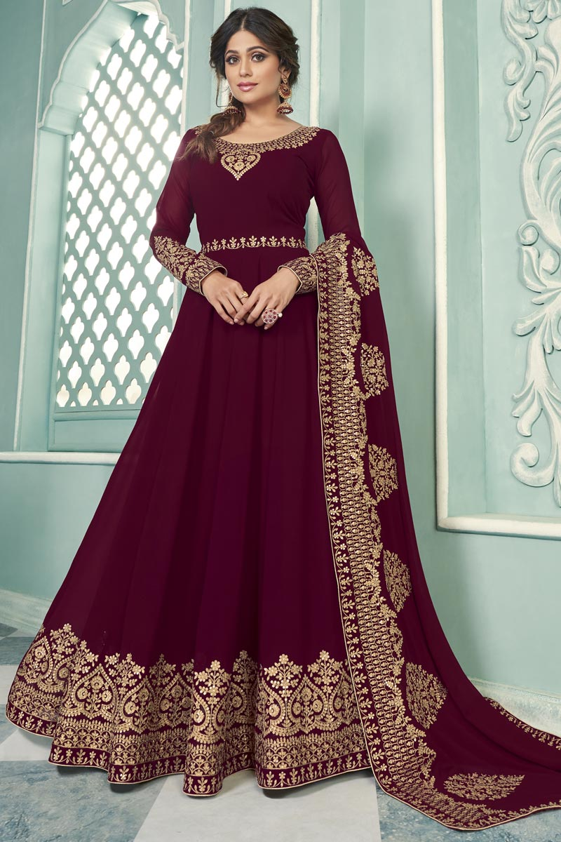 Shamita Shetty Party Wear Embroidered Maroon Color Floor Length Anarkali Dress In Georgette