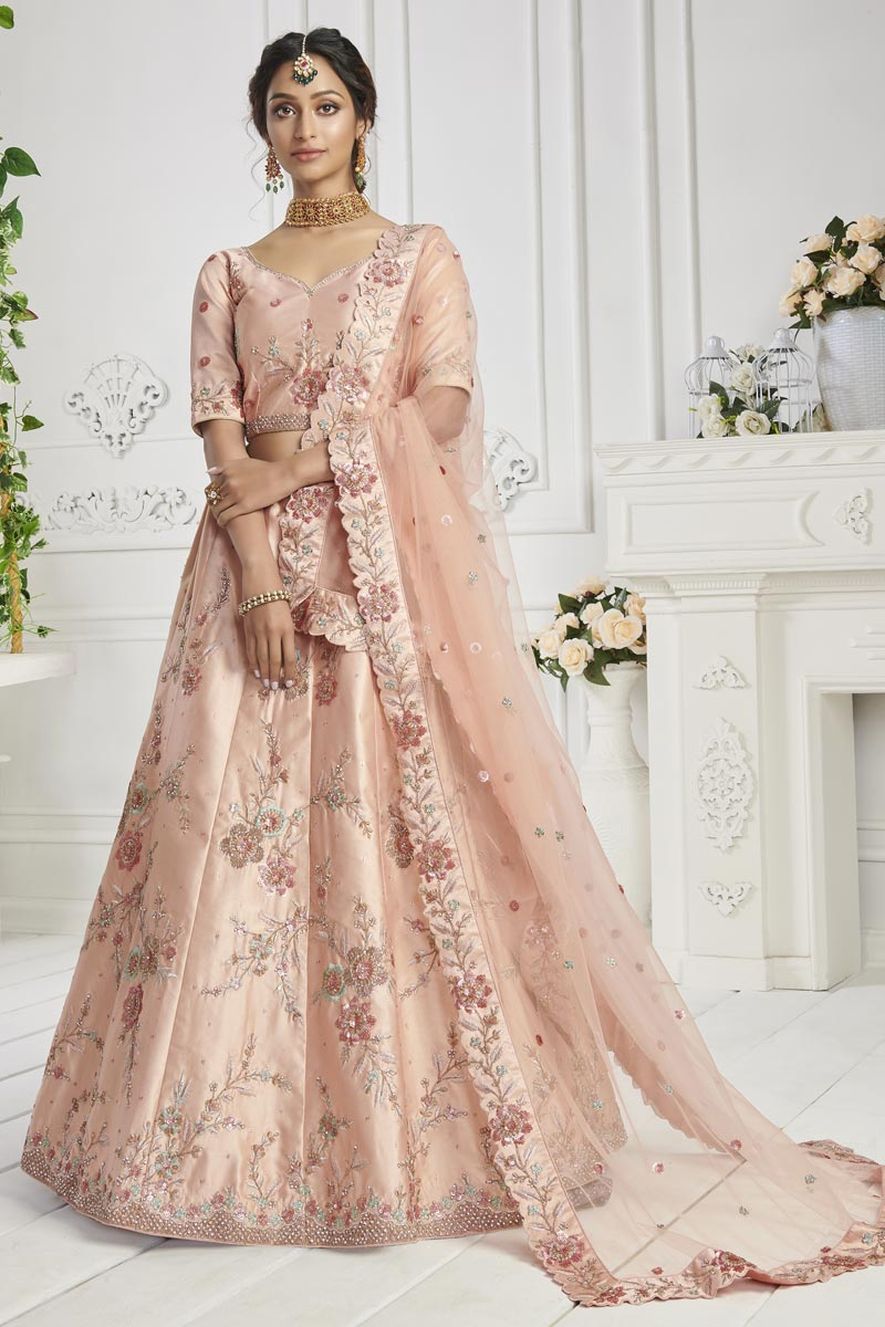Art Silk Fabric Sangeet Wear Peach Color Embroidered Lehenga