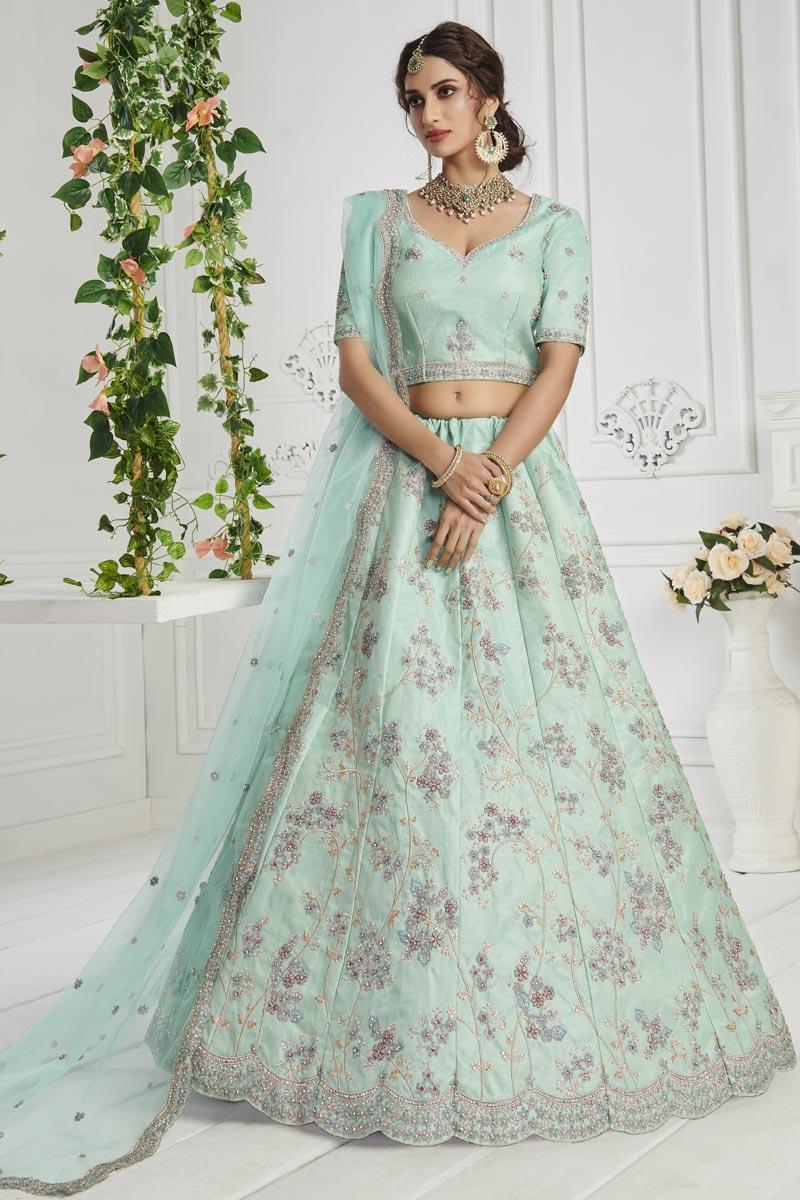 Sangeet Wear Sea Green Color Embroidered Art Silk Fabric Lehenga Choli