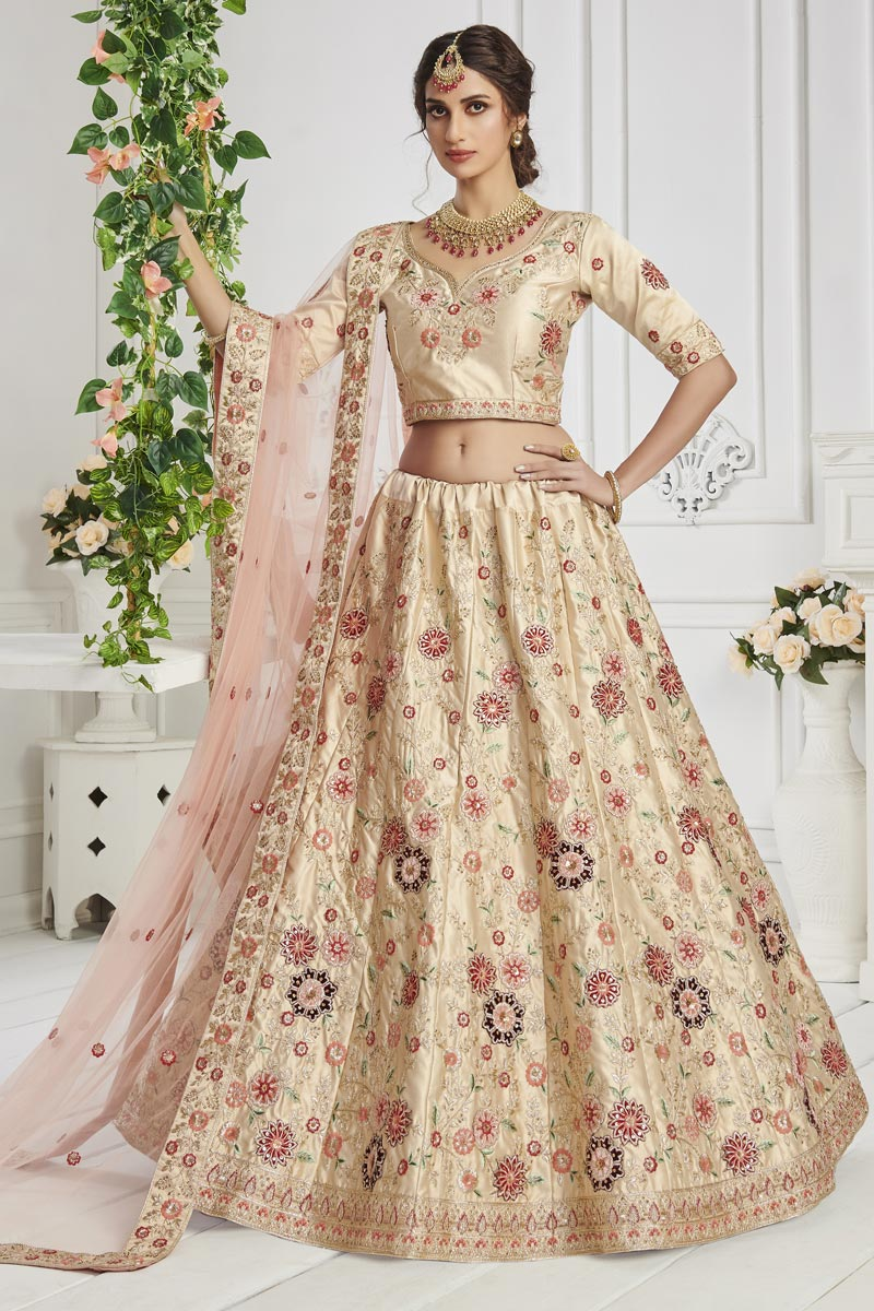Beige Color Sangeet Wear Embroidered Art Silk Fabric Lehenga