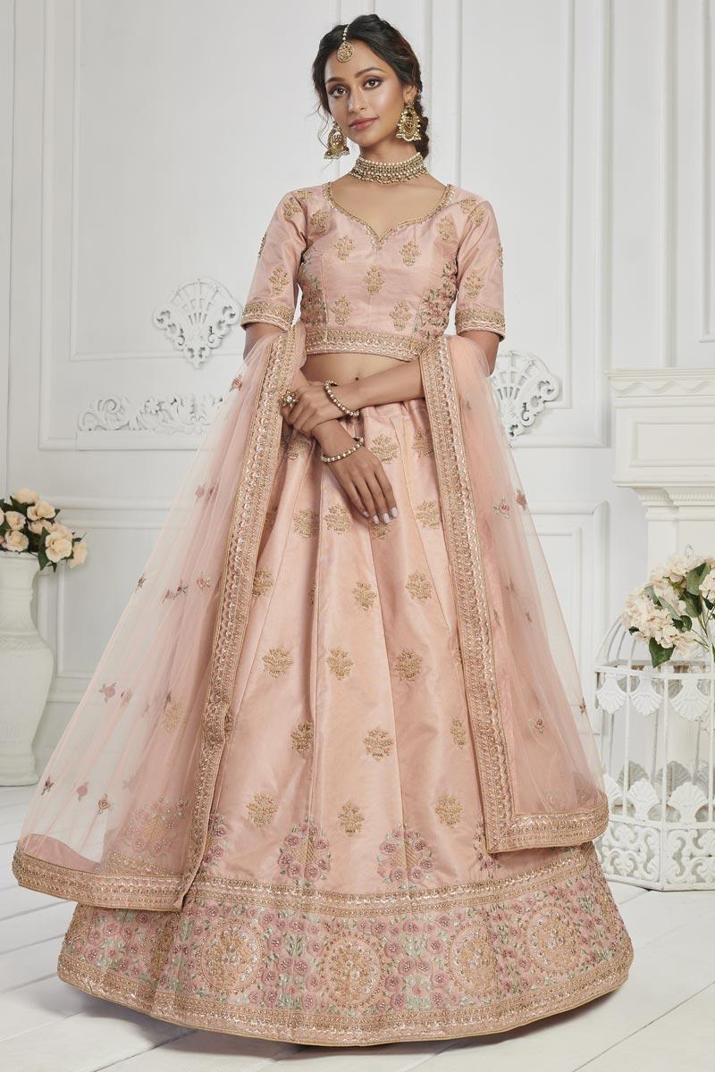 Sangeet Wear Art Silk Fabric Peach Color Embroidered Lehenga Choli