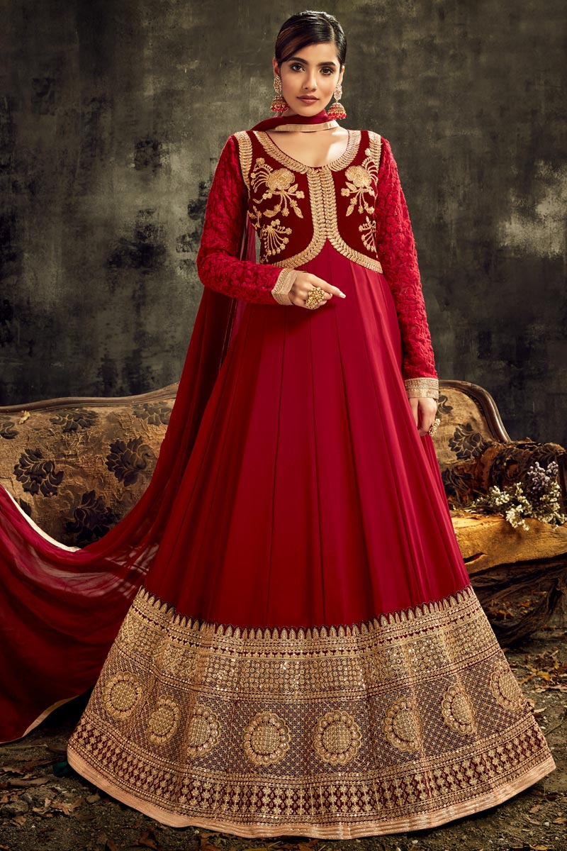 Sangeet Wear Red Color Georgette Fabric Embroidered Long Length Anarkali Suit