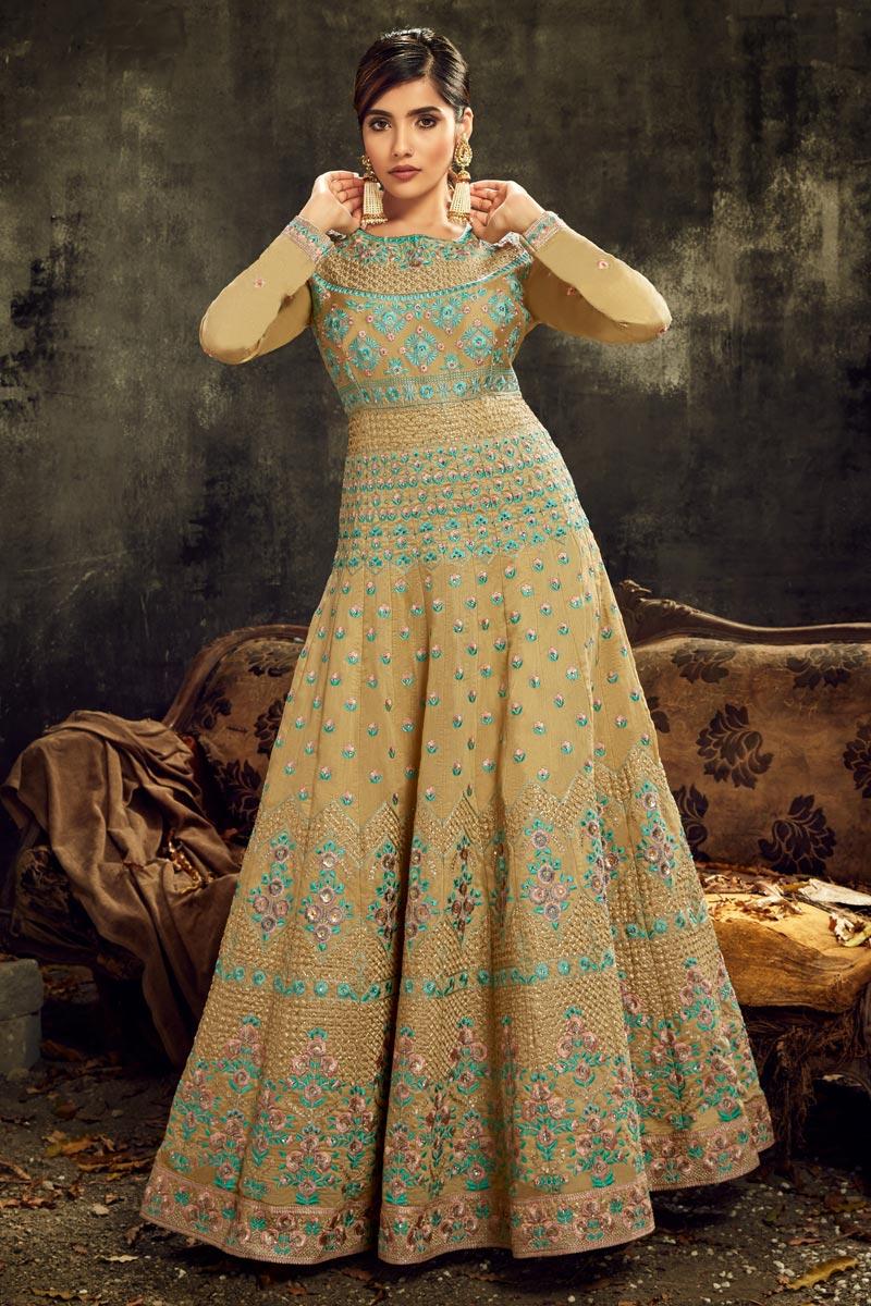 Sangeet Wear Embroidered Beige Color Floor Length Anarkali Dress In Art Silk Fabric