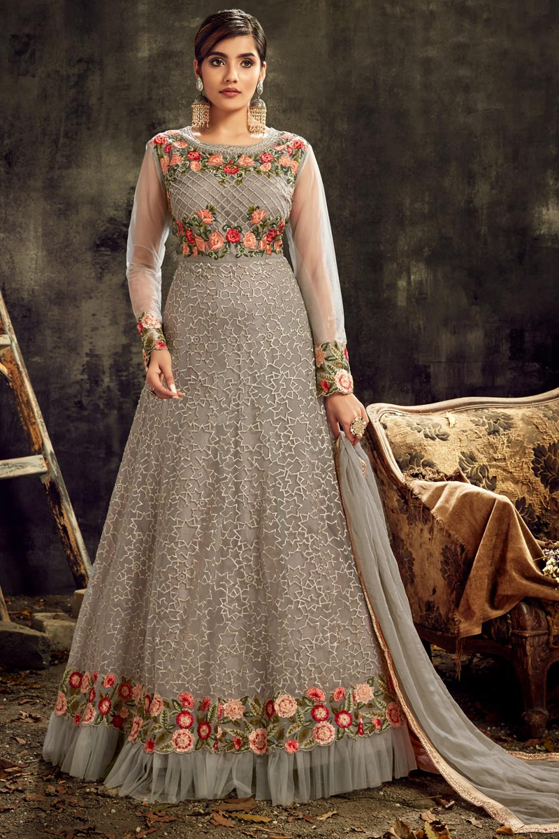 Net Fabric Sangeet Wear Grey Color Long Length Embroidered Anarkali Suit