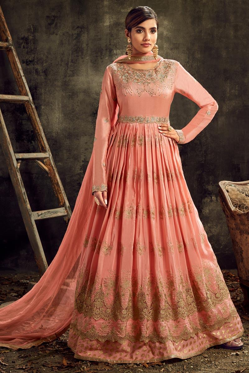 Peach Color Sangeet Wear Floor Length Embroidered Anarkali Dress In Art Silk Fabric