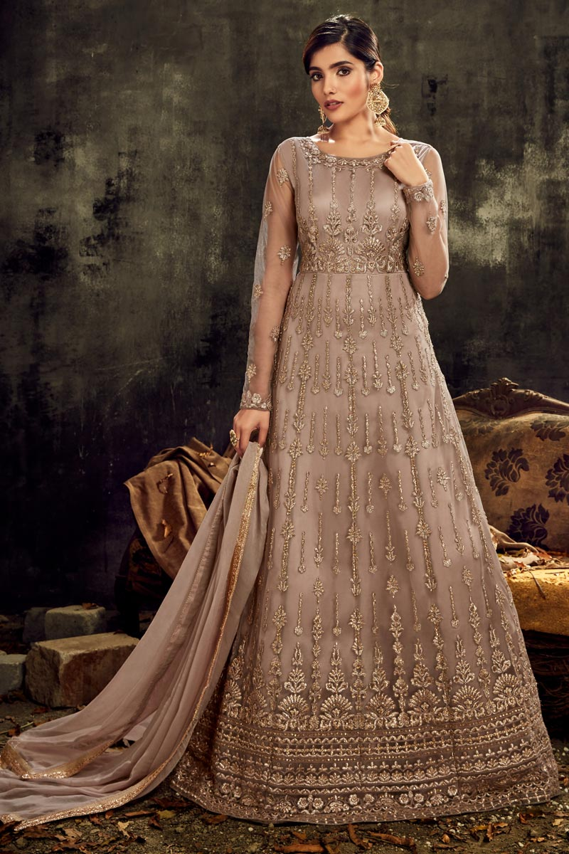 Sangeet Wear Dark Beige Color Net Fabric Long Length Embroidered Anarkali Suit