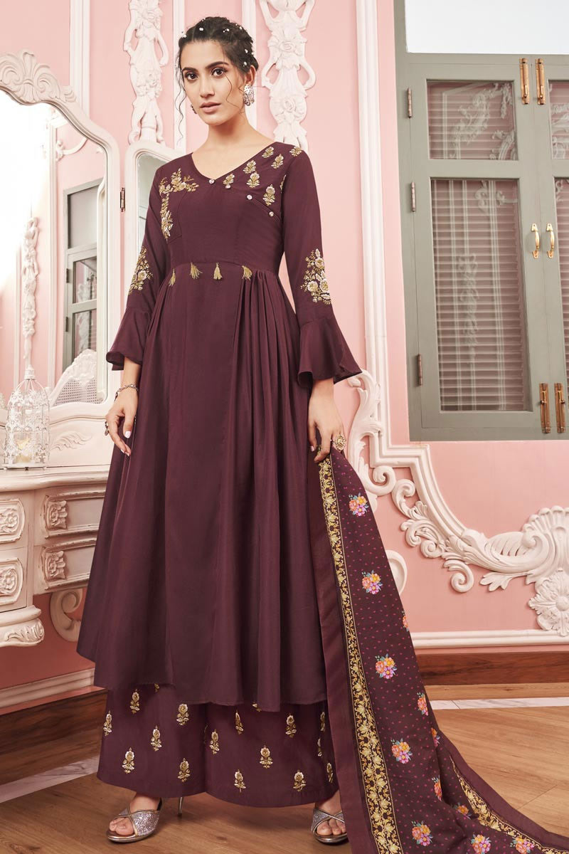 Fancy Fabric Party Wear Readymade Palazzo Salwar Suit In Wine Color With Embroidery Work