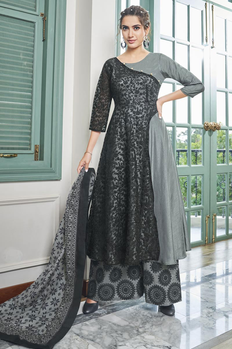 Occasion Wear Black Color Embroidered Readymade Palazzo Salwar Kameez In Fancy Fabric