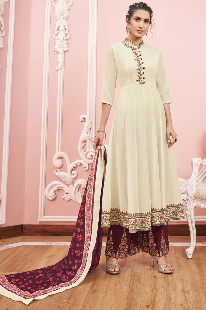 Embroidery Work On Cream Color Fancy Fabric Wedding Wear Readymade Palazzo Salwar Suit