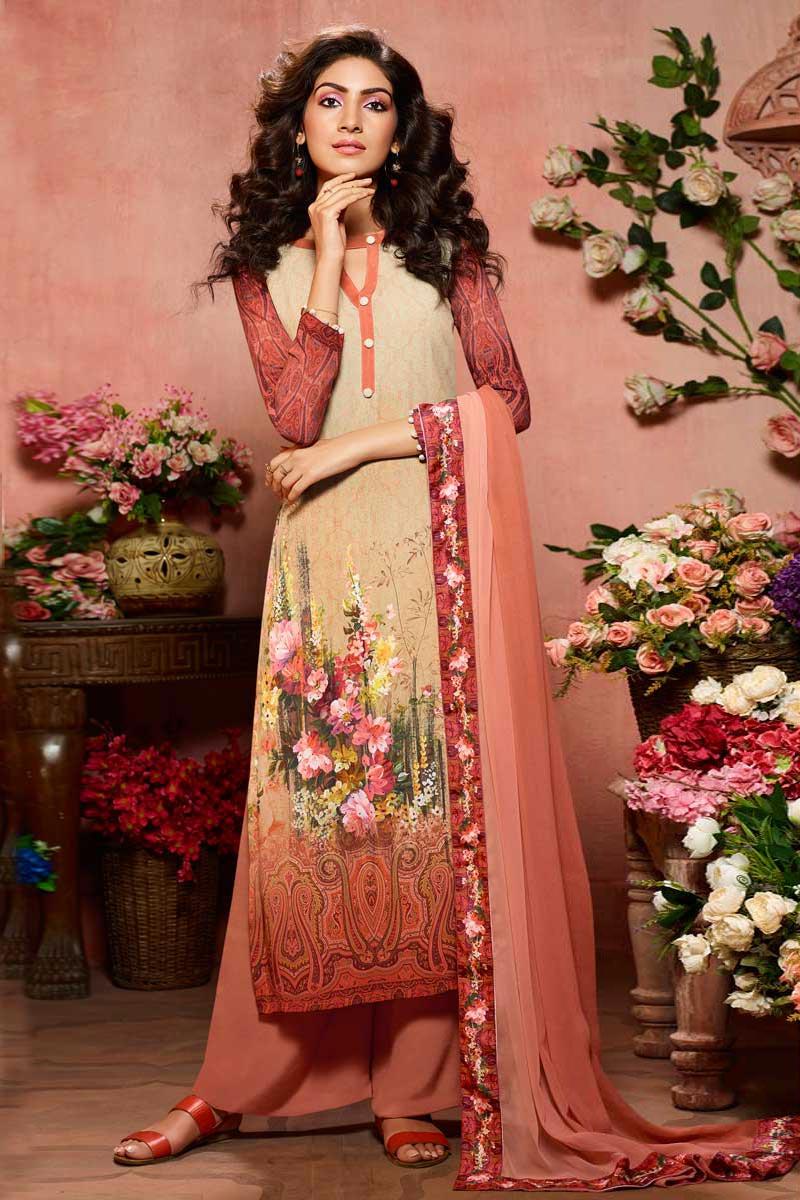 Peach Printed Festive Wear Palazzo Dress In Crepe Fabric