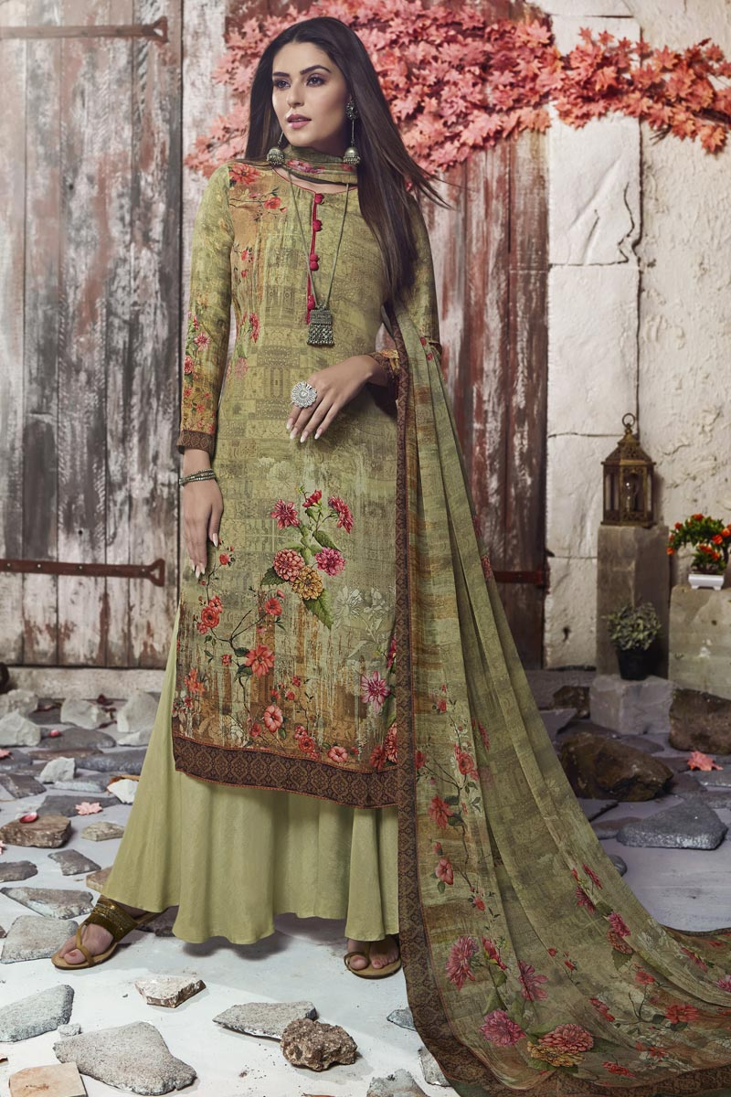 Fancy Crepe Fabric Casual Style Sea Green Printed Palazzo Suit