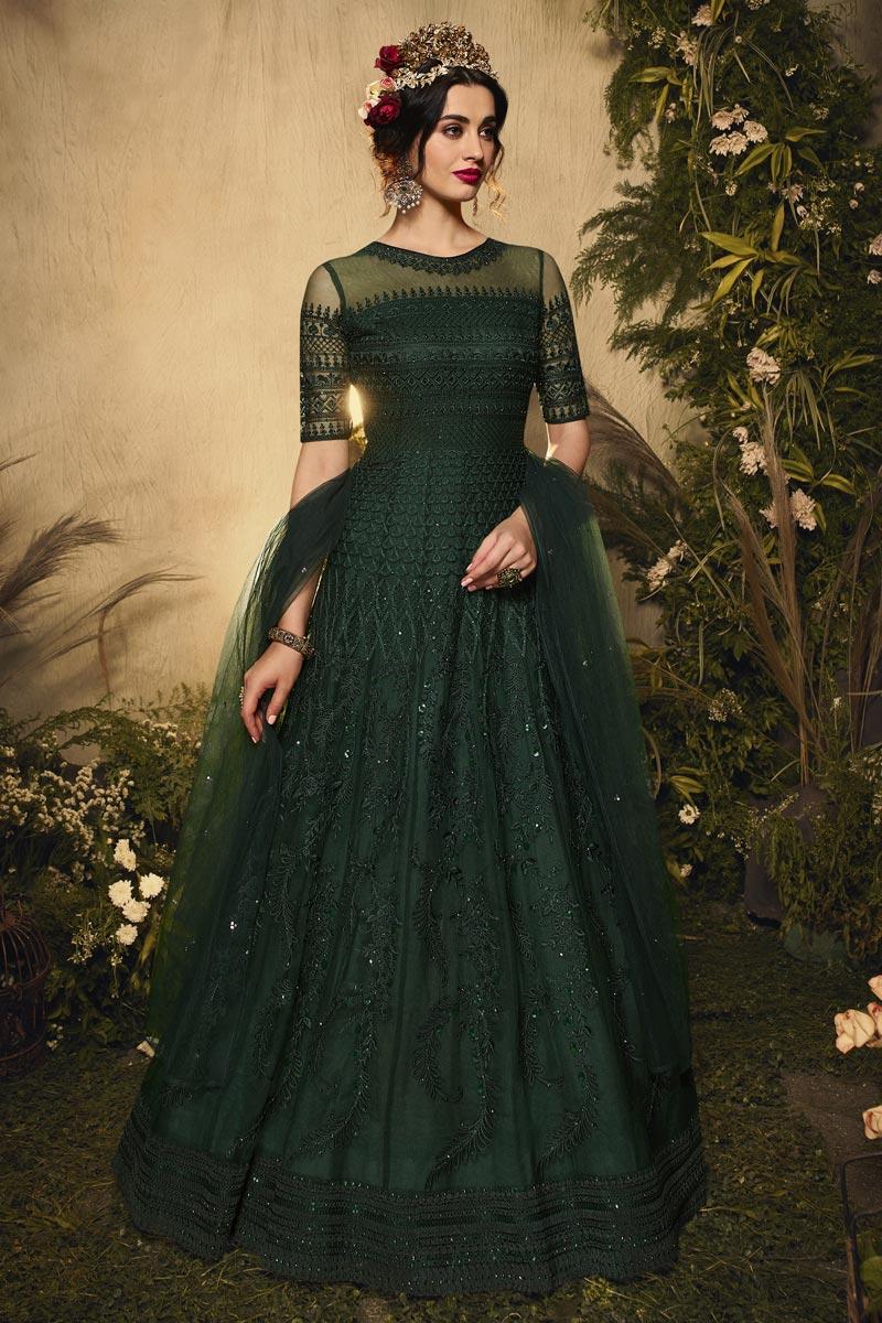 Dark Green Color Wedding Wear Embroidered Net Fabric Anarkali Suit