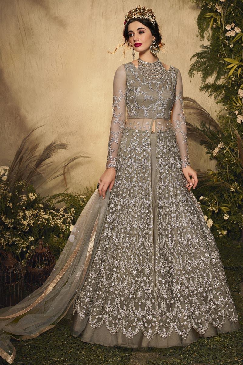 Dark Beige Color Wedding Wear Embroidered Net Fabric Anarkali Dress