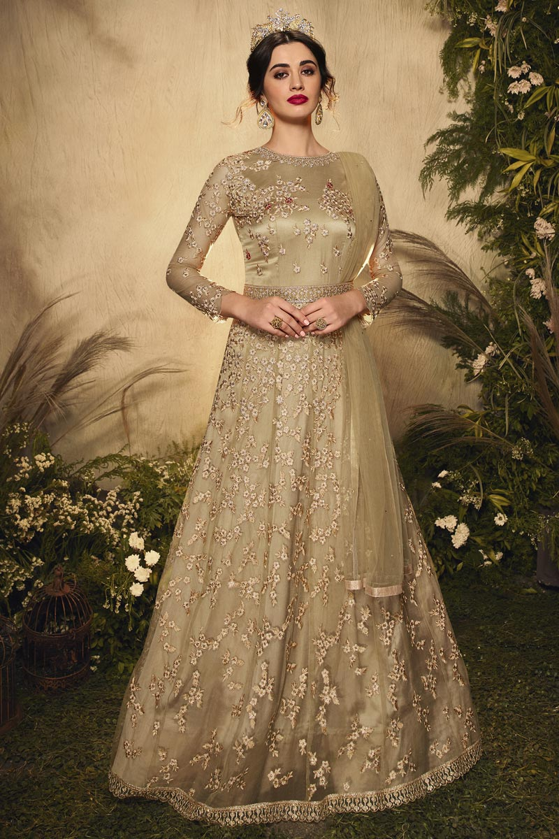 Net Fabric Wedding Wear Beige Color Embroidered Anarkali Suit