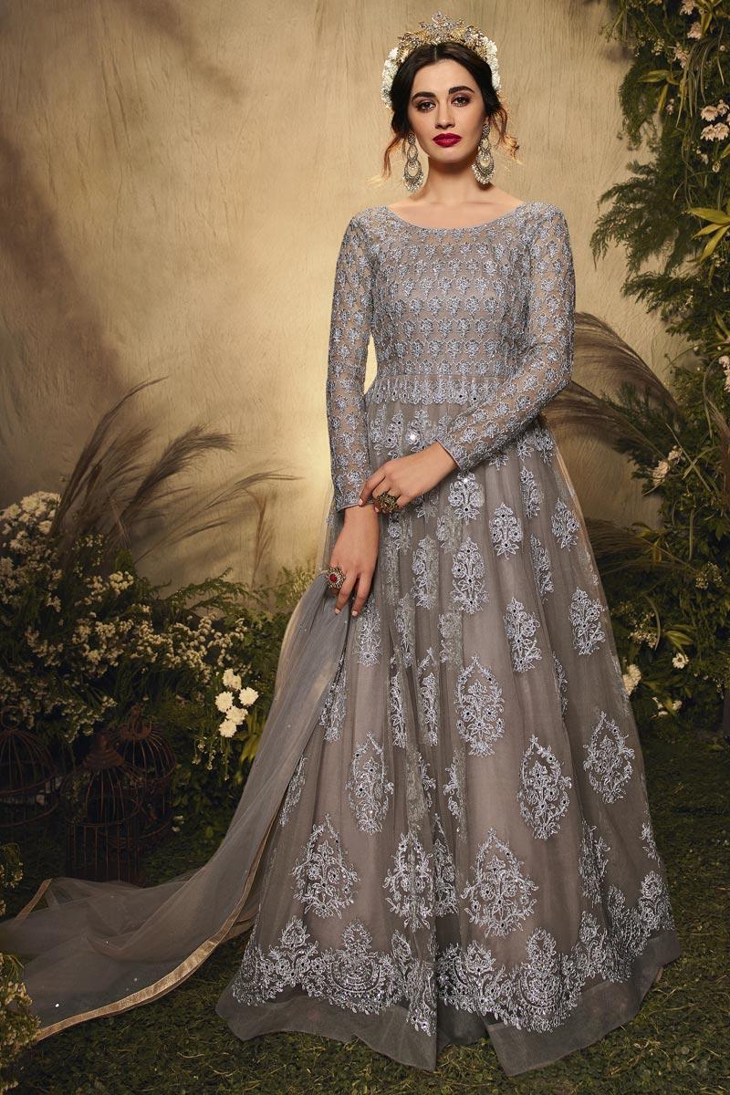 Grey Color Net Fabric Wedding Wear Embroidered Anarkali Dress