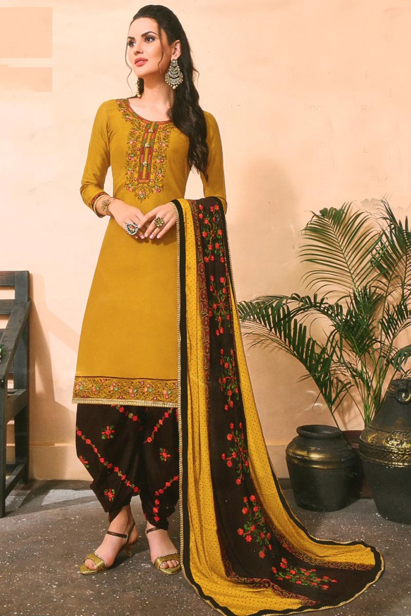 Trendy Yellow Color Festive Wear Embroidered Patiala Suit In Cotton Fabric