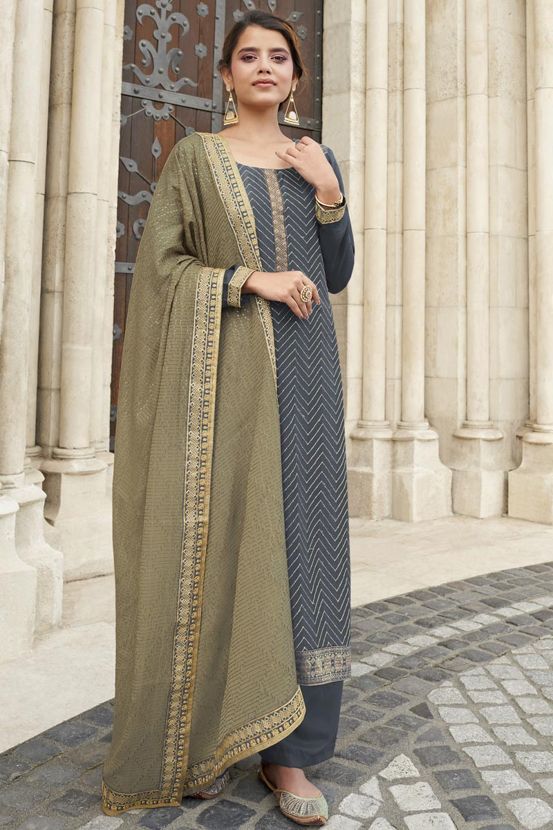 Grey Color Chinon Fabric Party Style Embroidered Palazzo Dress