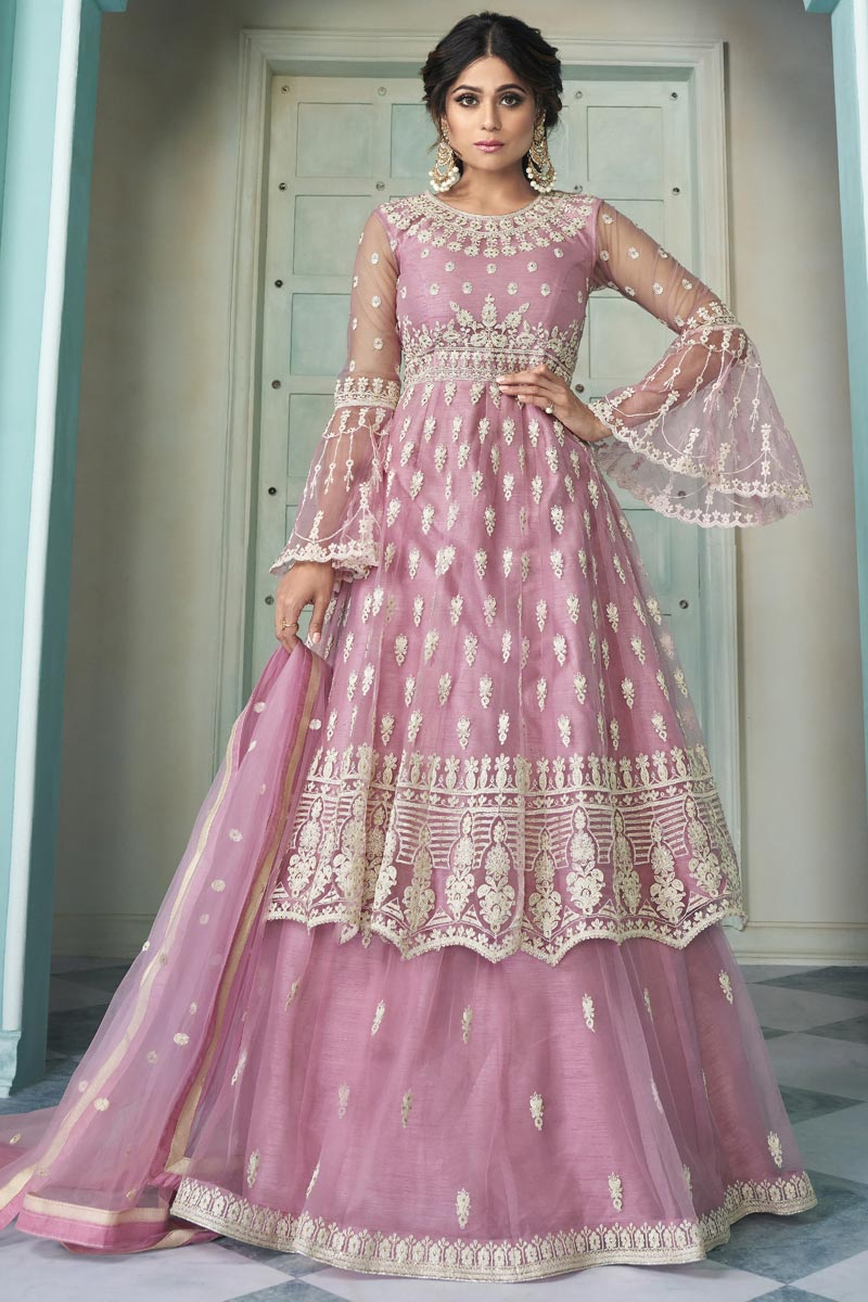 Shamita Shetty Net Fabric Function Wear Embroidered Pink Color Sharara Top Lehenga