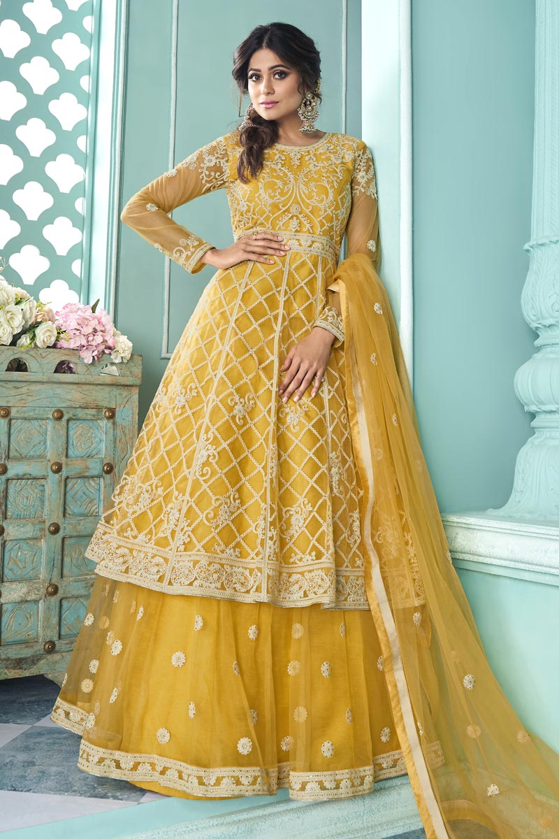Shamita Shetty Net Fabric Function Wear Yellow Color Embroidered Sharara Top Lehenga