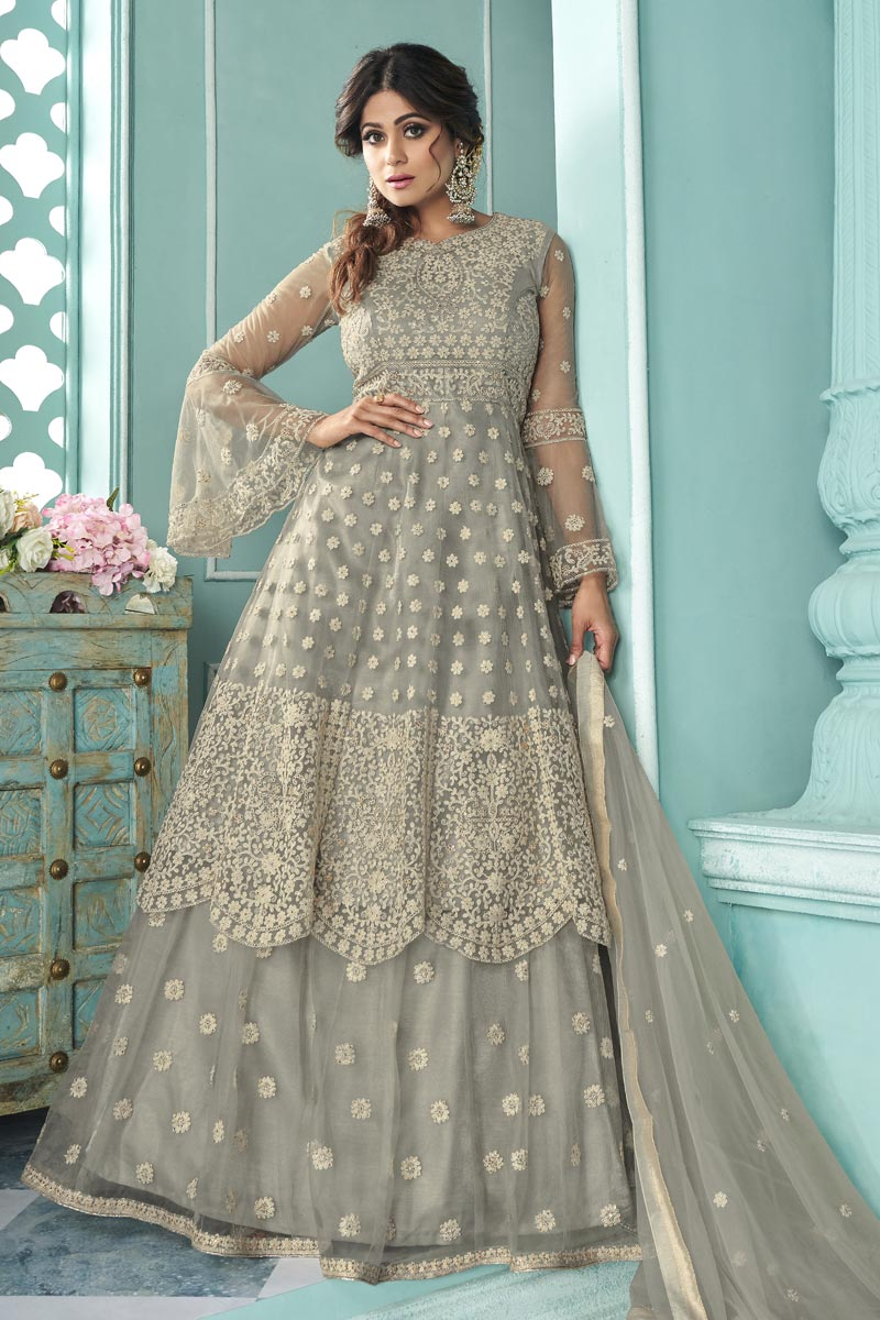 Shamita Shetty Function Wear Net Fabric Embroidered Sharara Top Lehenga In Grey Color