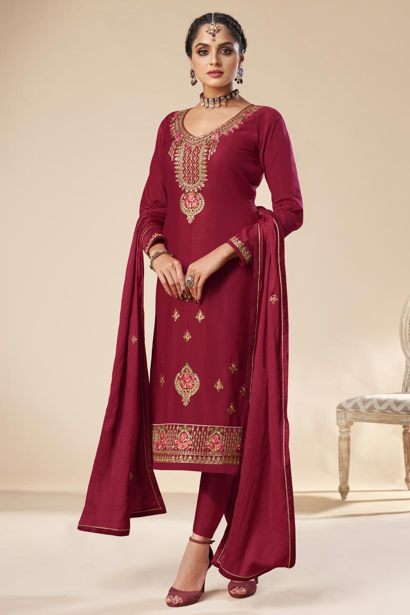 Party Wear Burgundy Color Trendy Embroidered Straight Cut Suit In Art Silk