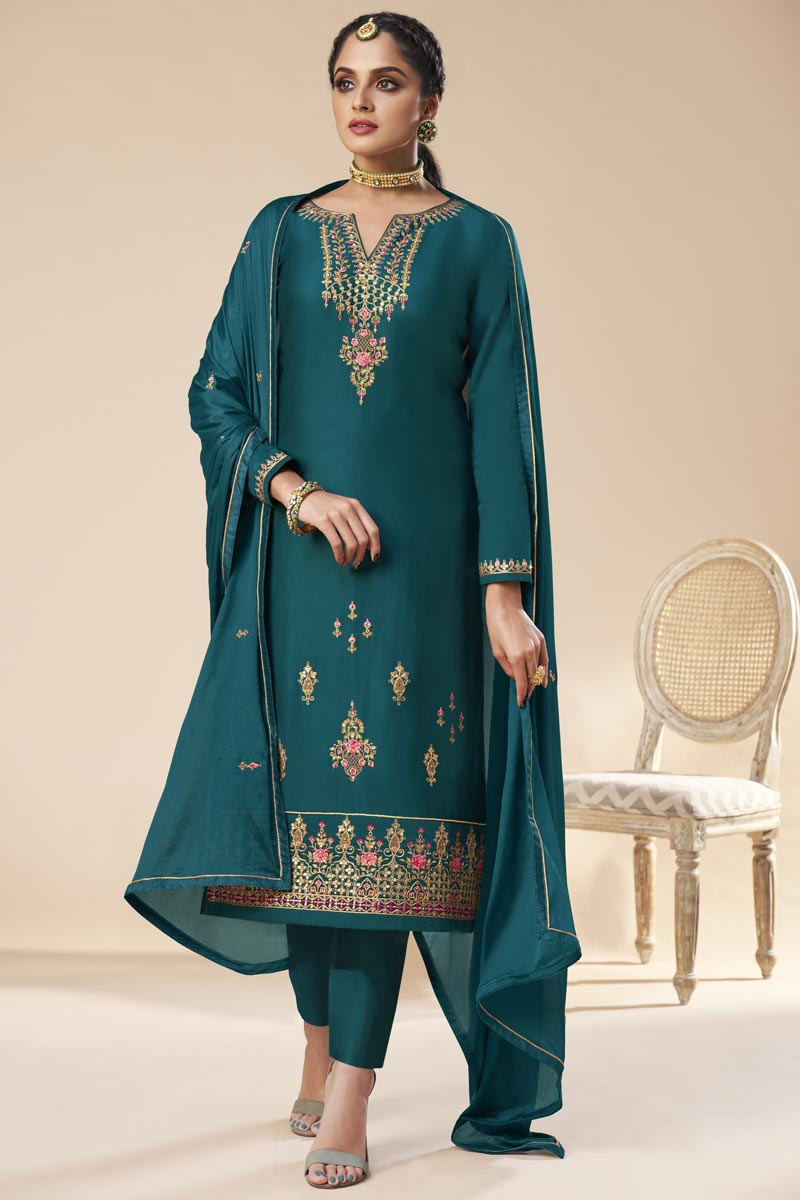 Teal Color Party Wear Trendy Embroidered Art Silk Straight Cut Dress