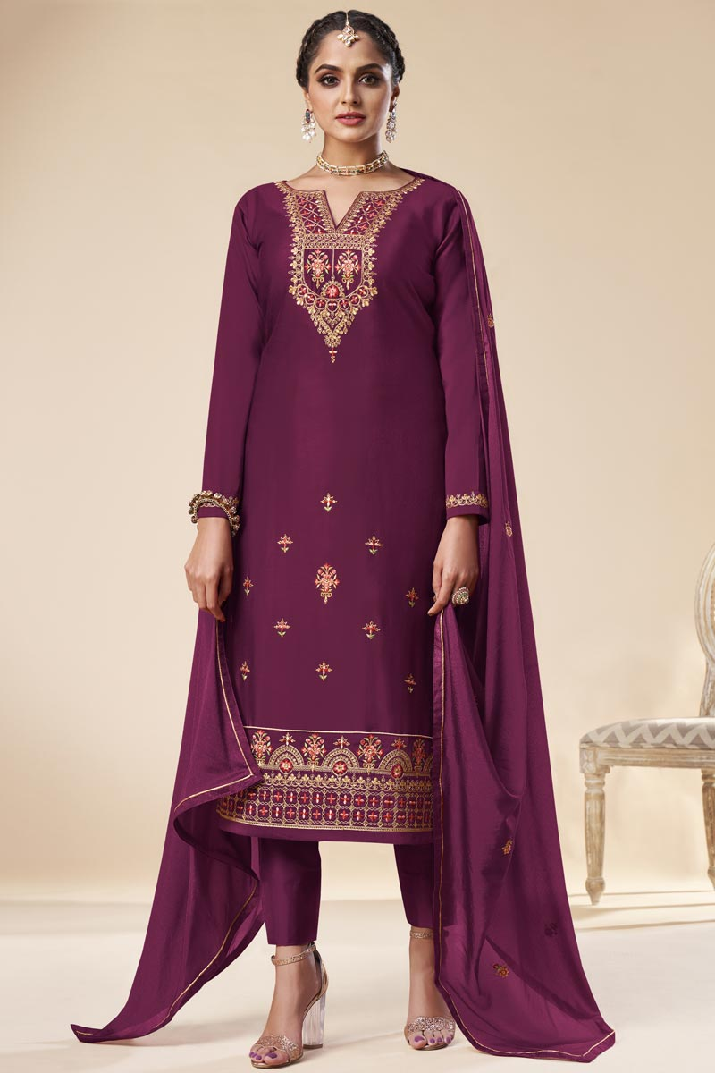 Purple Color Party Wear Trendy Embroidered Straight Cut Suit In Art Silk