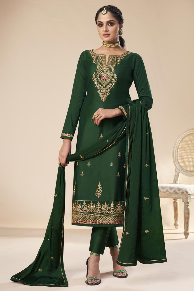 Party Wear Dark Green Color Art Silk Trendy Embroidered Straight Cut Dress