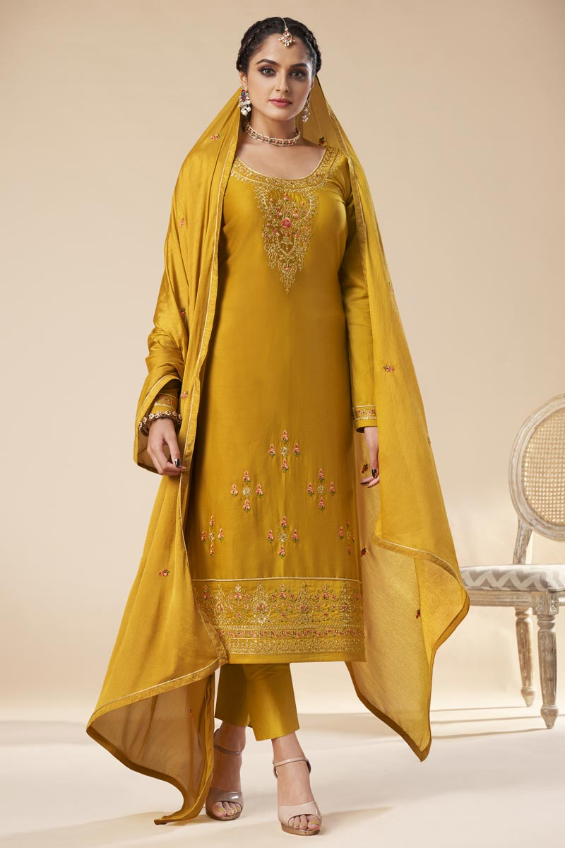 Party Wear Yellow Color Trendy Embroidered Straight Cut Art Silk Dress