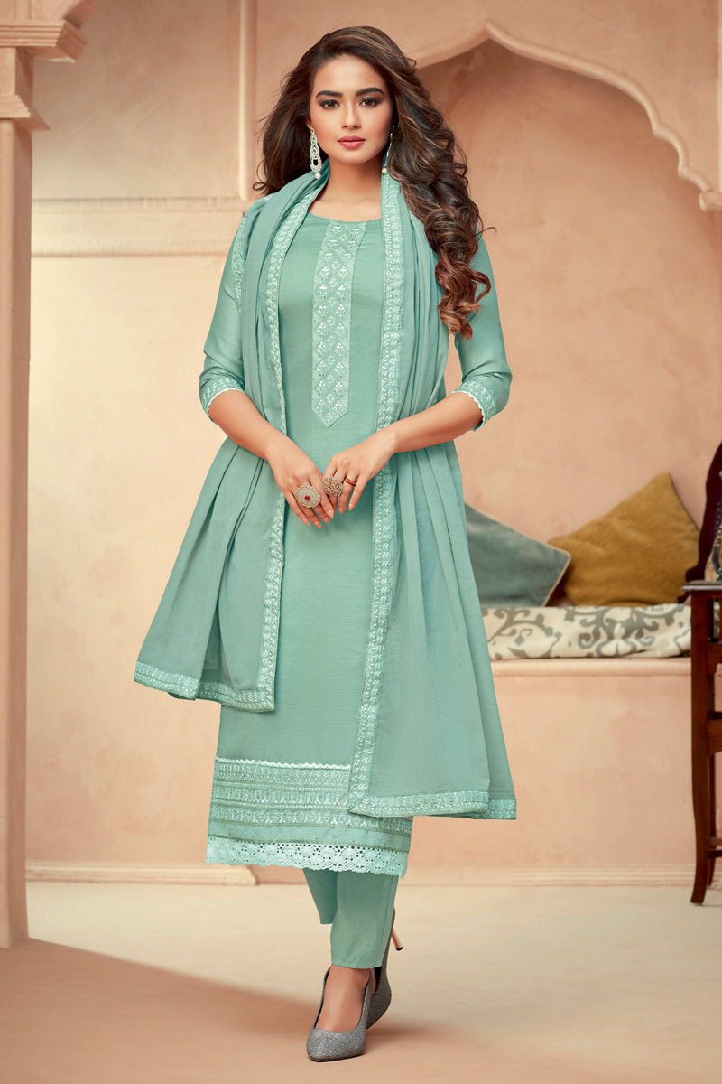 Cyan Color Function Wear Embroidered Art Silk Fabric Readymade Salwar Suit