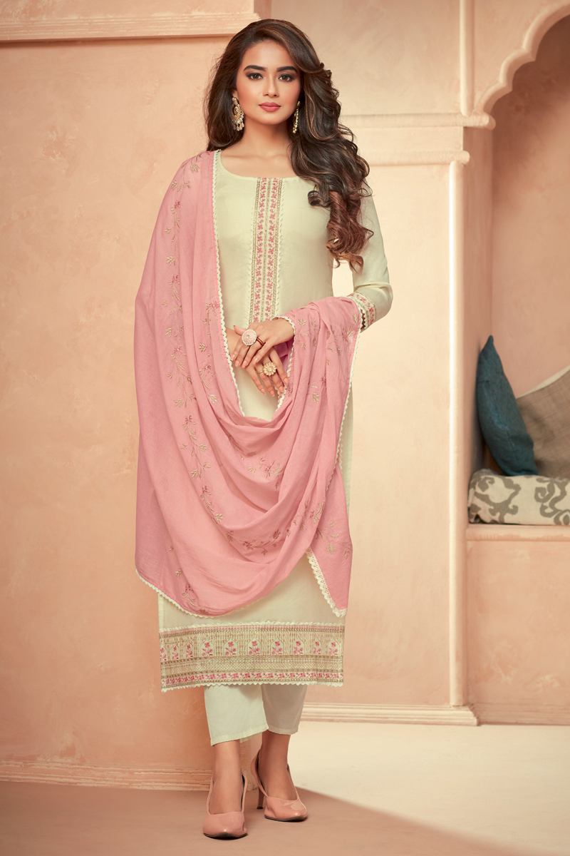 Beige Color Festive Wear Embroidered Art Silk Fabric Readymade Salwar Suit