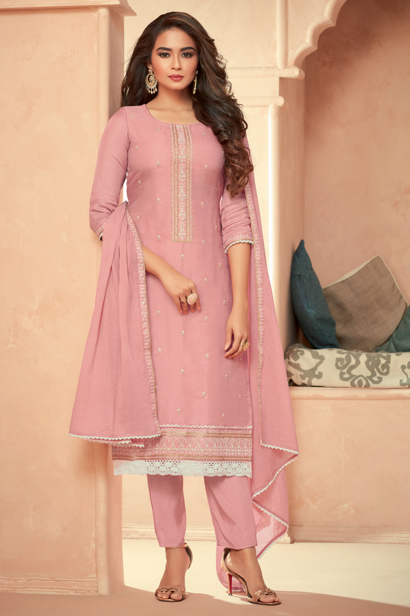 Art Silk Fabric Party Wear Pink Color Embroidered Readymade Salwar Suit