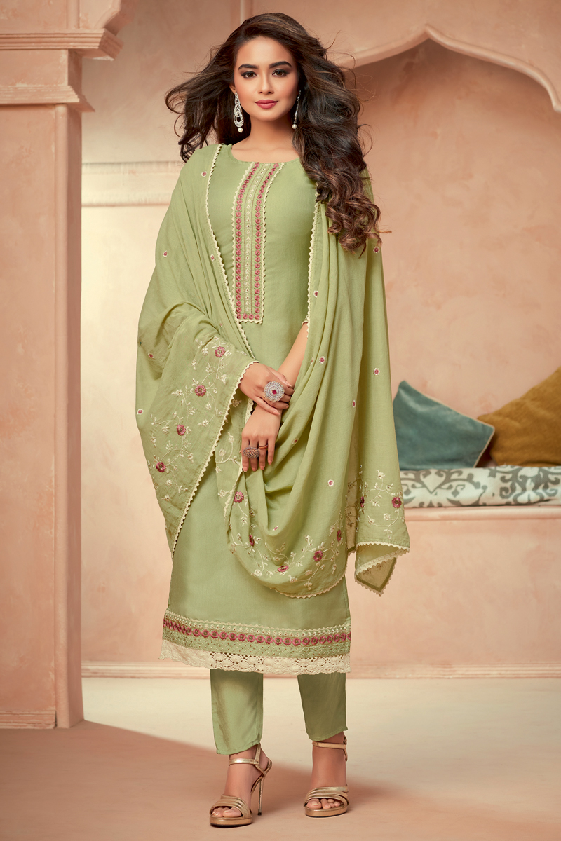 Green Color Art Silk Fabric Function Wear Embroidered Readymade Salwar Suit