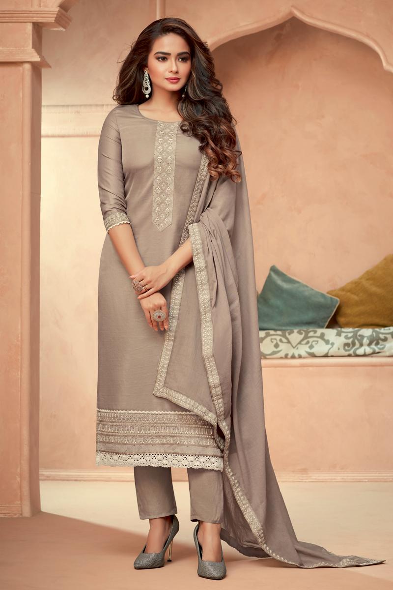 Art Silk Fabric Festive Wear Embroidered Readymade Salwar Suit In Dark Beige Color