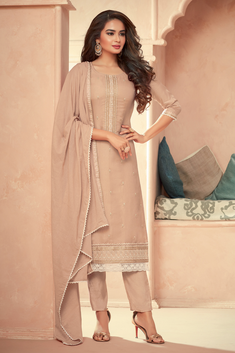 Art Silk Fabric Peach Color Embroidered Party Wear Readymade Salwar Suit