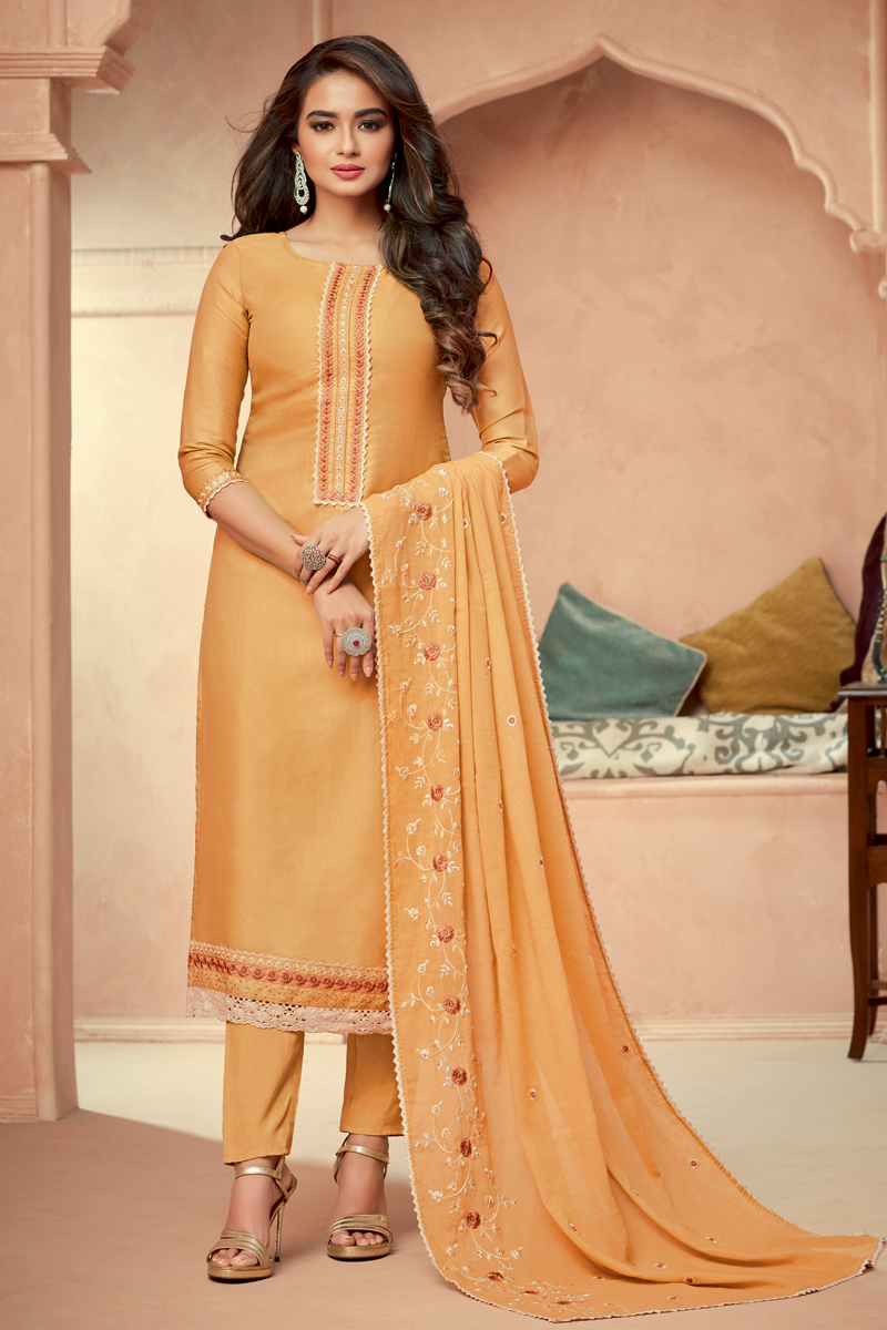 Yellow Color Art Silk Fabric Fancy Embroidered Function Wear Readymade Salwar Suit