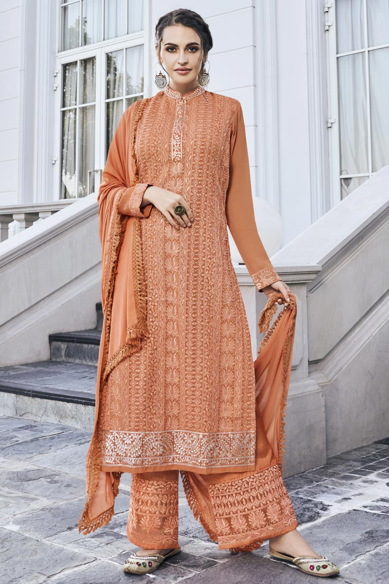 Designer Georgette Fabric Party Style Embroidered Orange Color Palazzo Suit