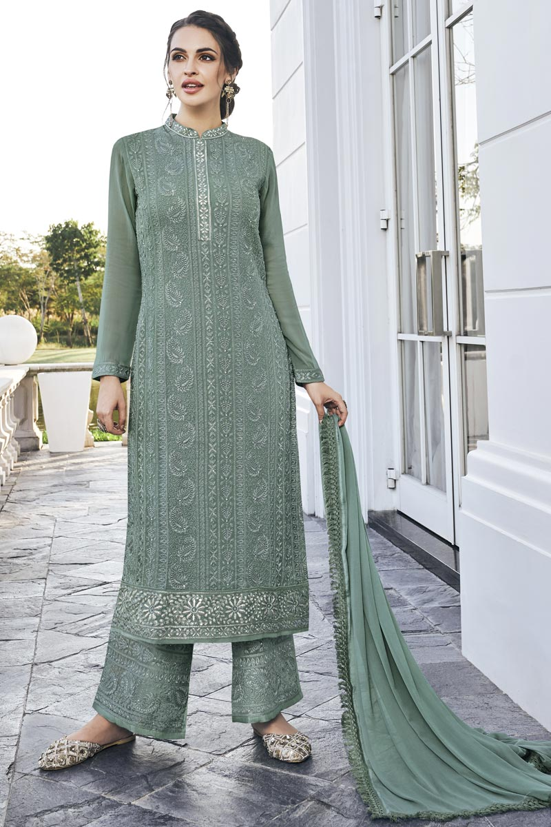 Georgette Fabric Party Style Designer Embroidered Grey Color Palazzo Dress