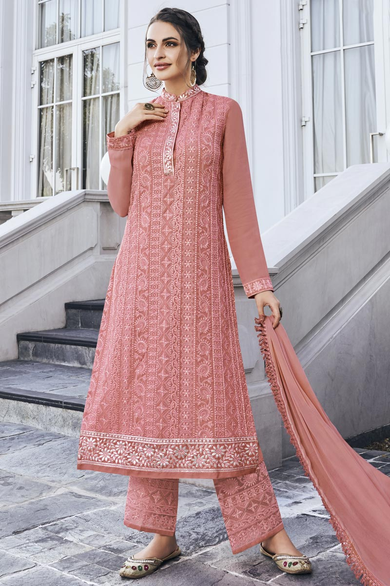 Designer Georgette Fabric Party Style Embroidered Peach Color Palazzo Suit