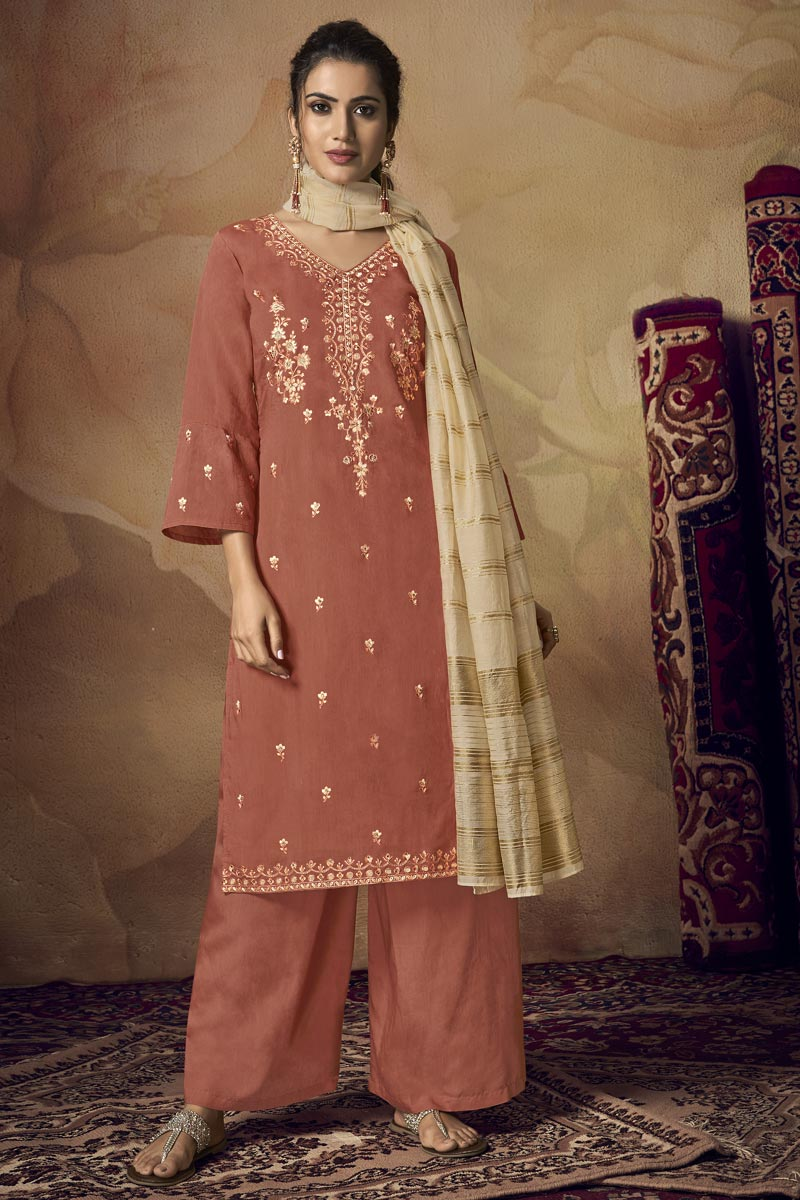 Rust Color Embroidered Designer Festive Wear Palazzo Dress In Viscose Fabric