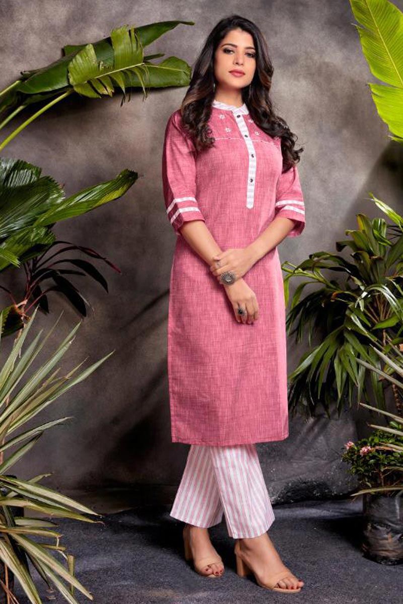 Pink Color Cotton Fabric Festive Wear Embroidered Kurti With Bottom