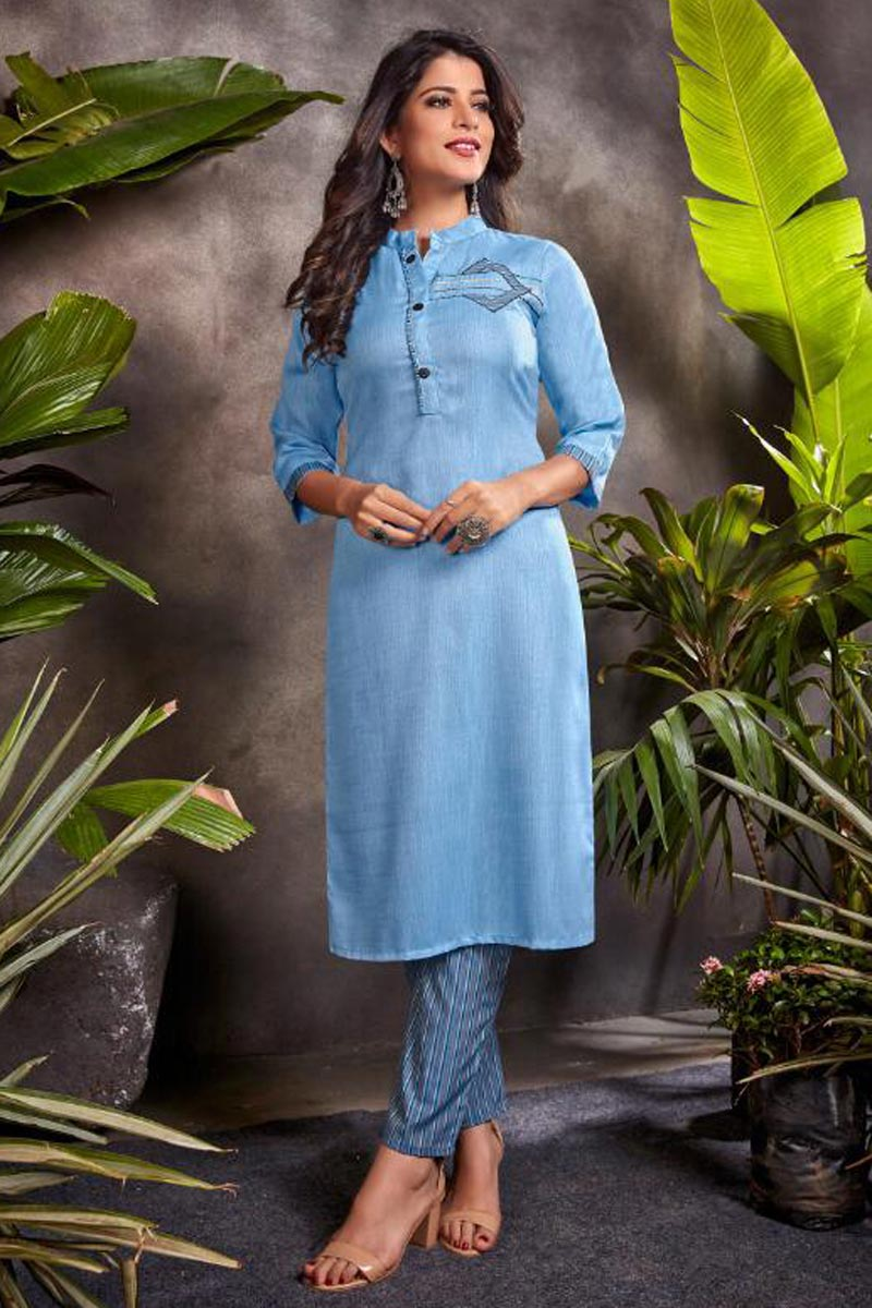 Blue Color Festive Wear Embroidered Kurti With Bottom In Cotton Fabric
