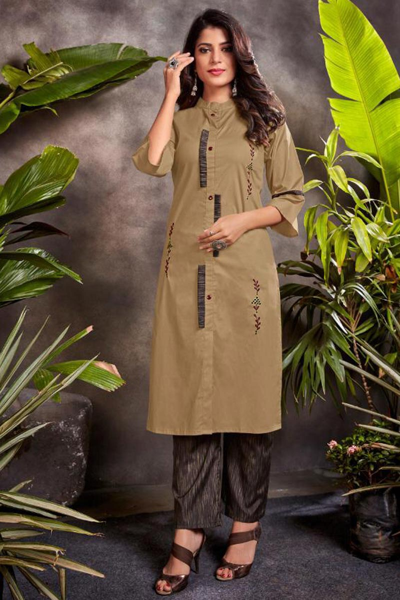Cotton Fabric Festive Wear Beige Color Embroidered Kurti With Bottom