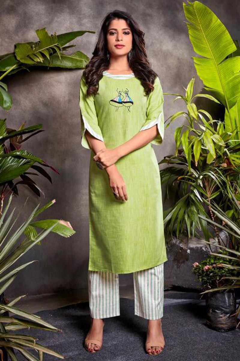 Sea Green Color Festive Wear Cotton Fabric Embroidered Kurti With Bottom