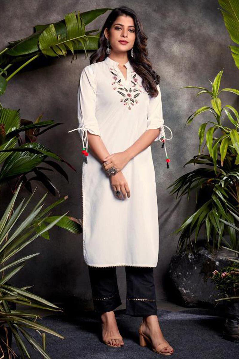 Festive Wear White Color Cotton Fabric Embroidered Kurti With Bottom