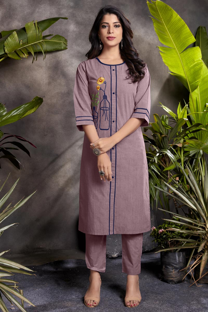 Fancy Casual Wear Lavender Color Cotton Fabric Kurti
