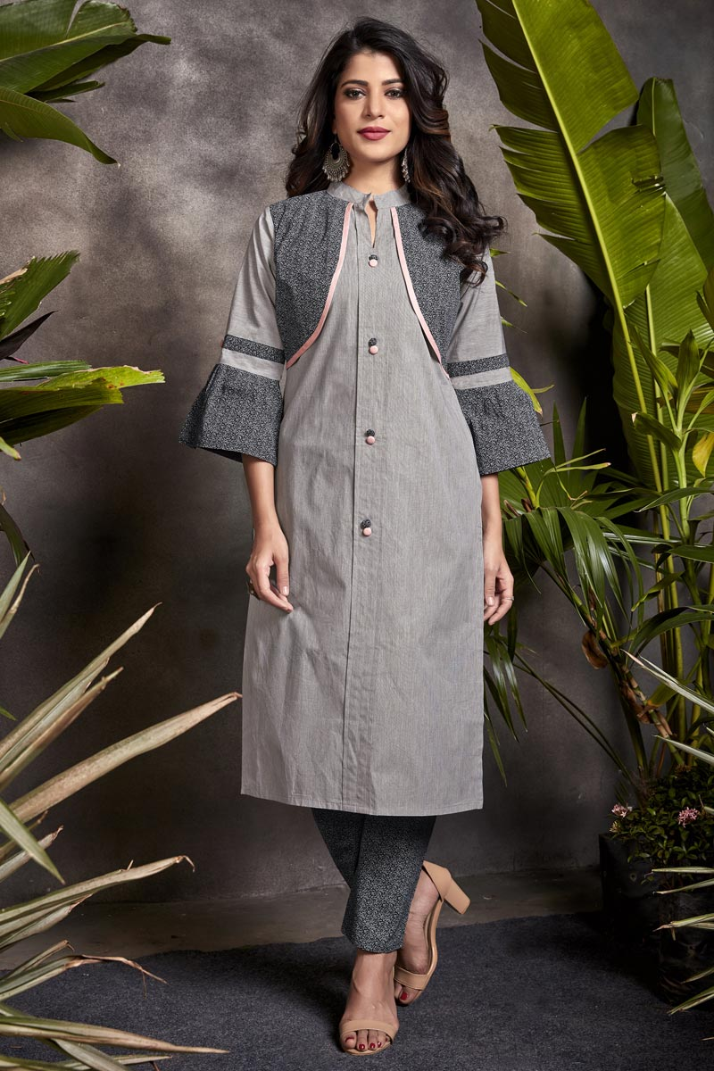 Cotton Fabric Grey Color Daily Wear Simple Kurti