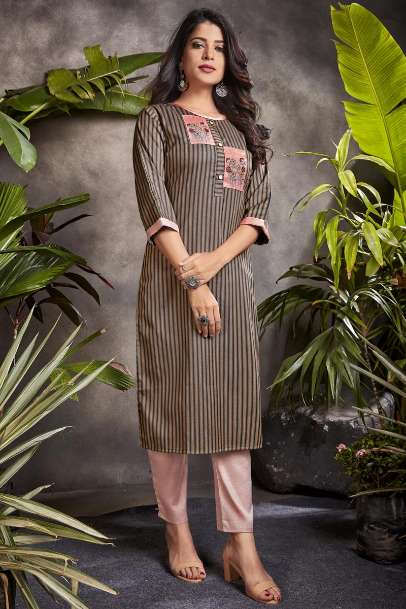Cotton Fabric Fancy Office Wear Kurti In Brown Color
