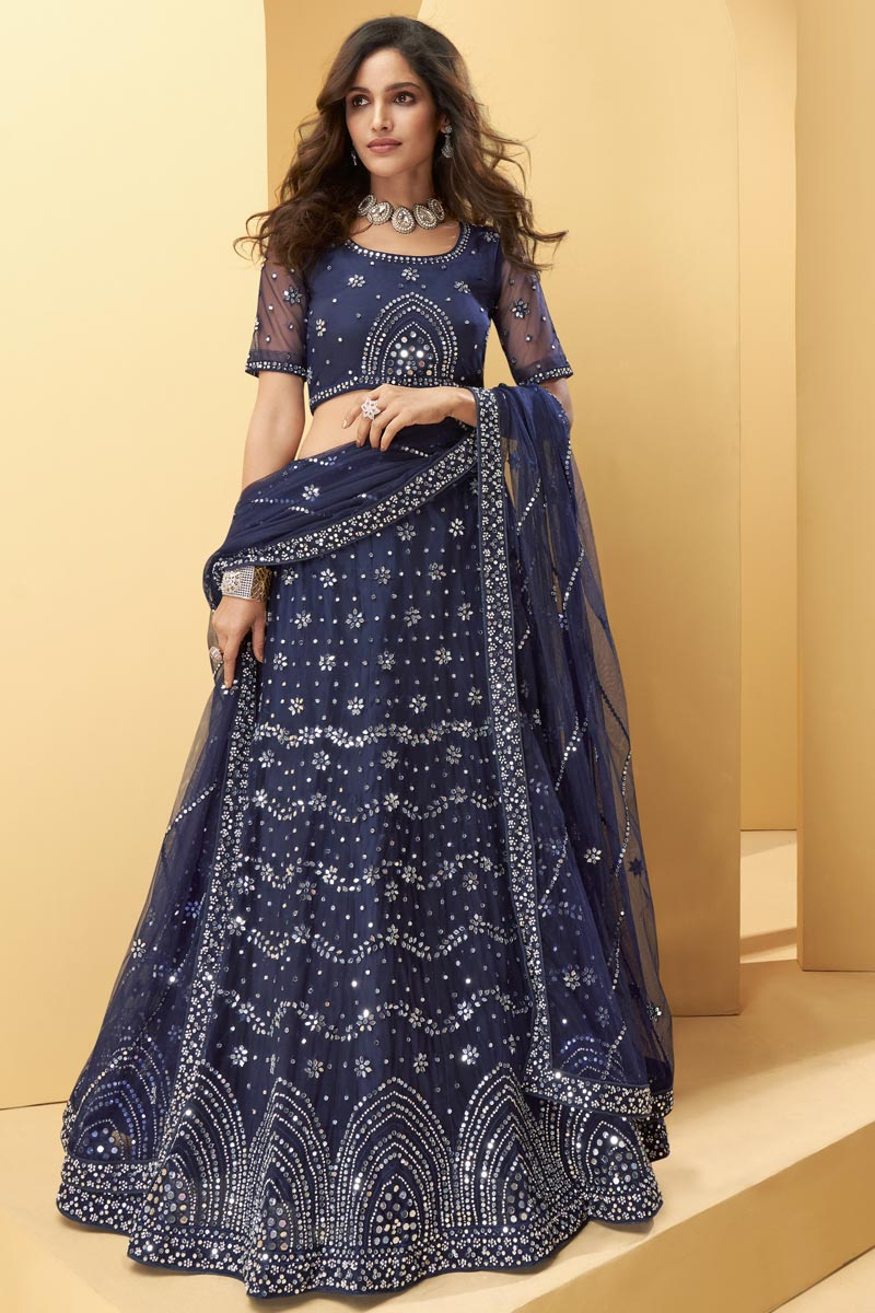 Wedding Wear Navy Blue Color Embroidered Lehenga Choli In Net Fabric