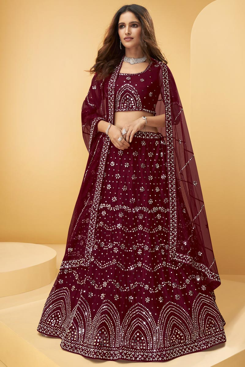 Net Fabric Wedding Wear Maroon Color Embroidered Lehenga Choli
